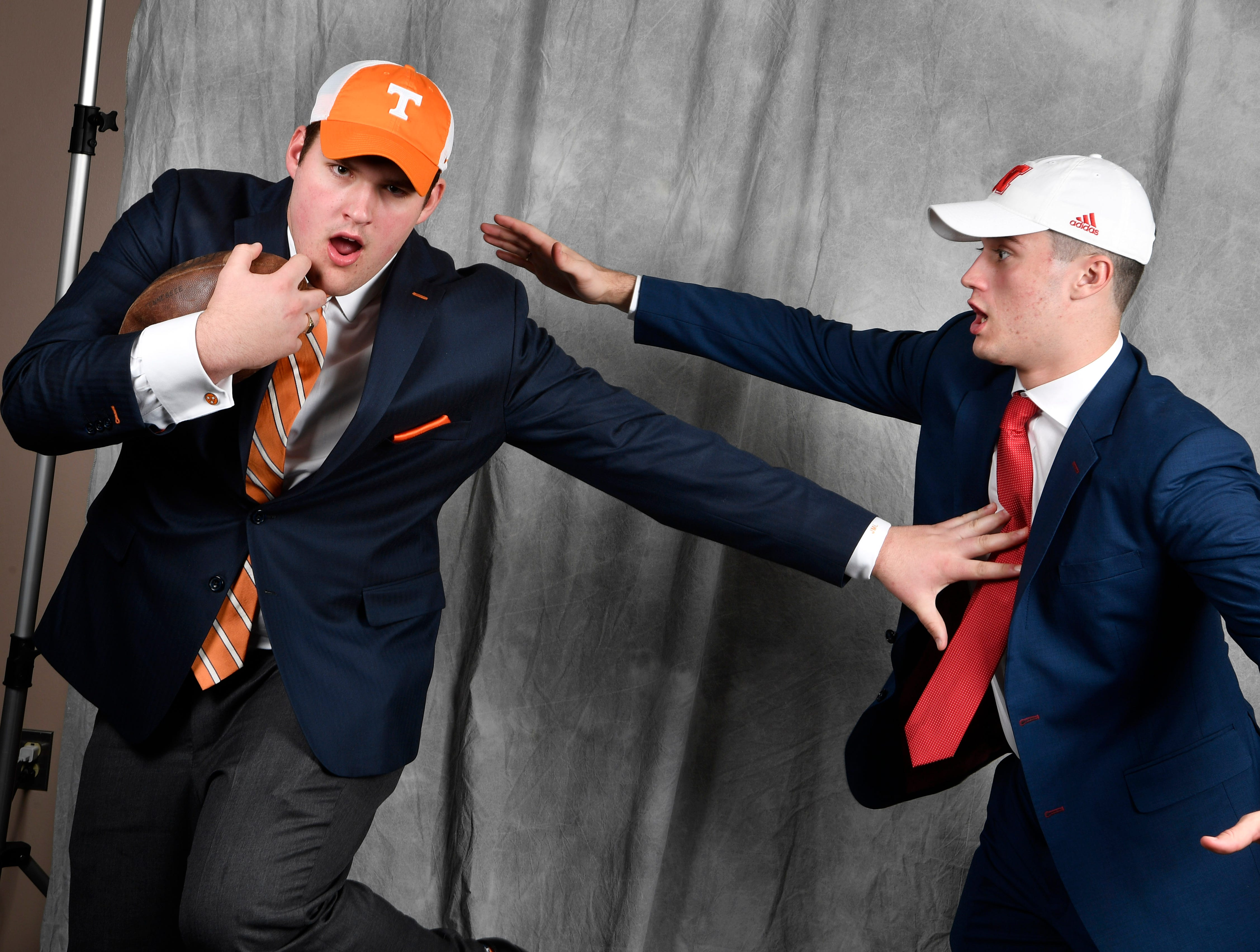 MBA teammates Jackson Lampley, left, and Jackson Hannah pose for a picture in the Tennessean's photo booth on the first day of the early signing period.
