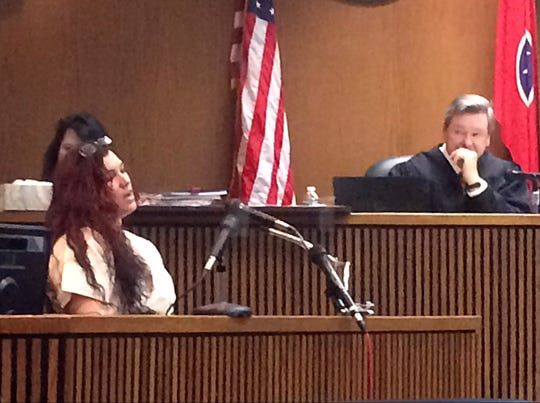 Erika Castro-Miles testifies at her bond hearing Friday in Dickson County Circuit Court.
