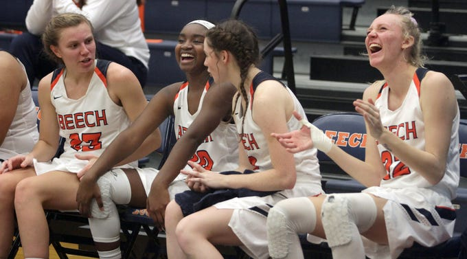 L-R Beech's core Mia Dean, Deshiya Hoosier, Jana Claire Swafford and Kendra Mueller have a sit down in the fourth quarter with a commmanding lead over Springfield on Friday, December 21, 2018.