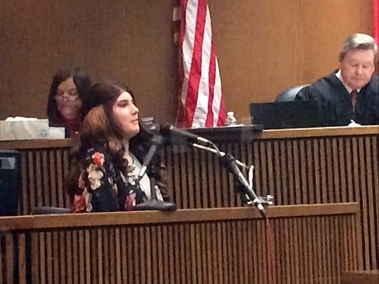 Braydon Castro, daughter of Erika Castro-Miles testifies in court.