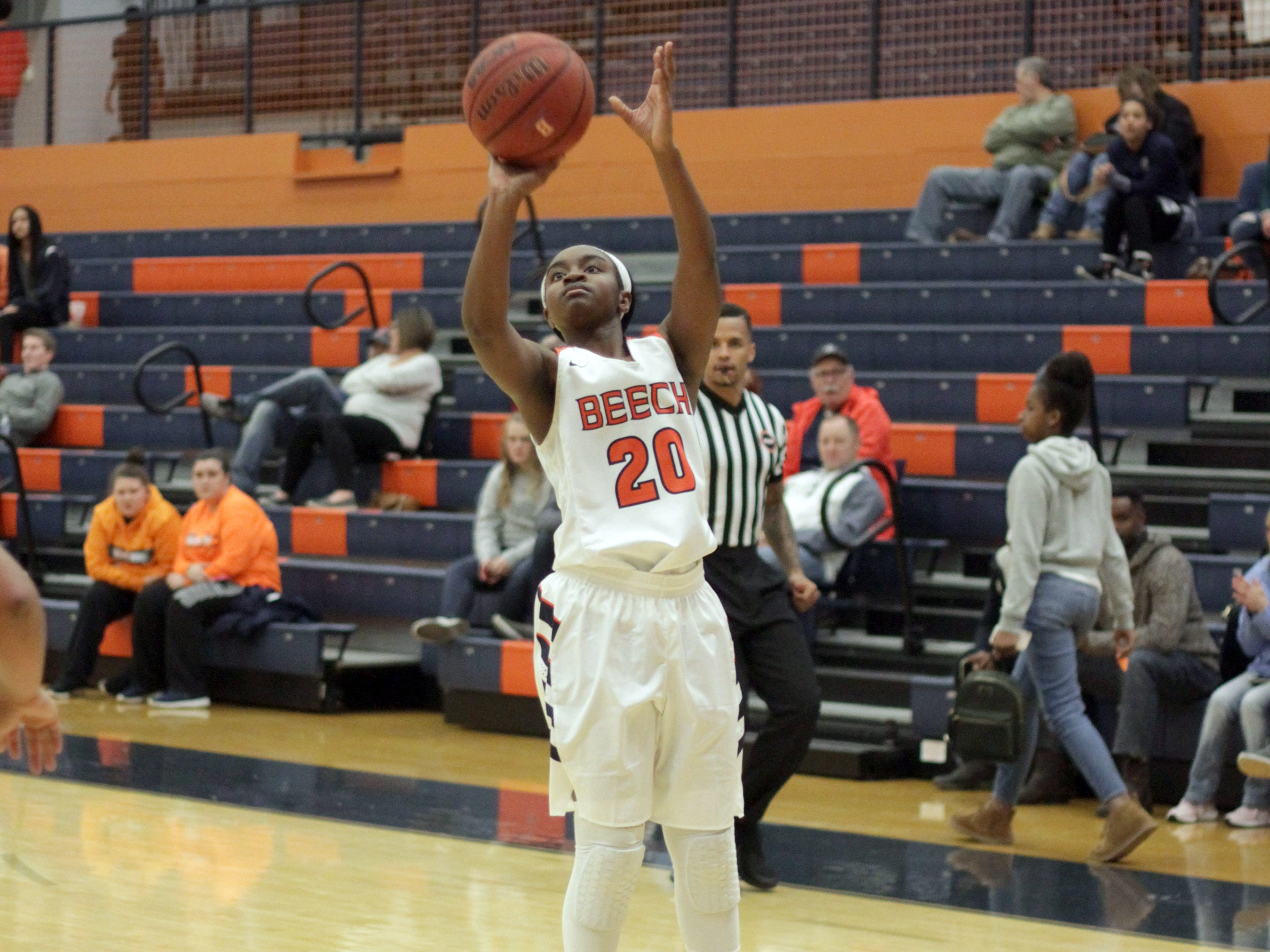 Beech's Deshiya Hoosier shoots and nails a three pointer against Springfield on Friday, December 21, 2018.