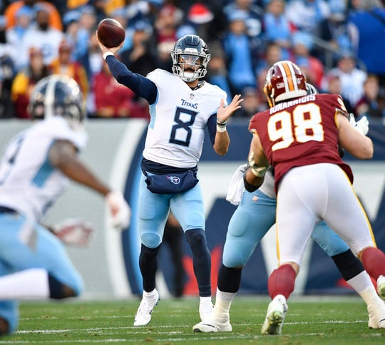 Titans quarterback Marcus Mariota (8) passes in the first quarter at Nissan Stadium Saturday, Dec. 22, 2018, in Nashville, Tenn.