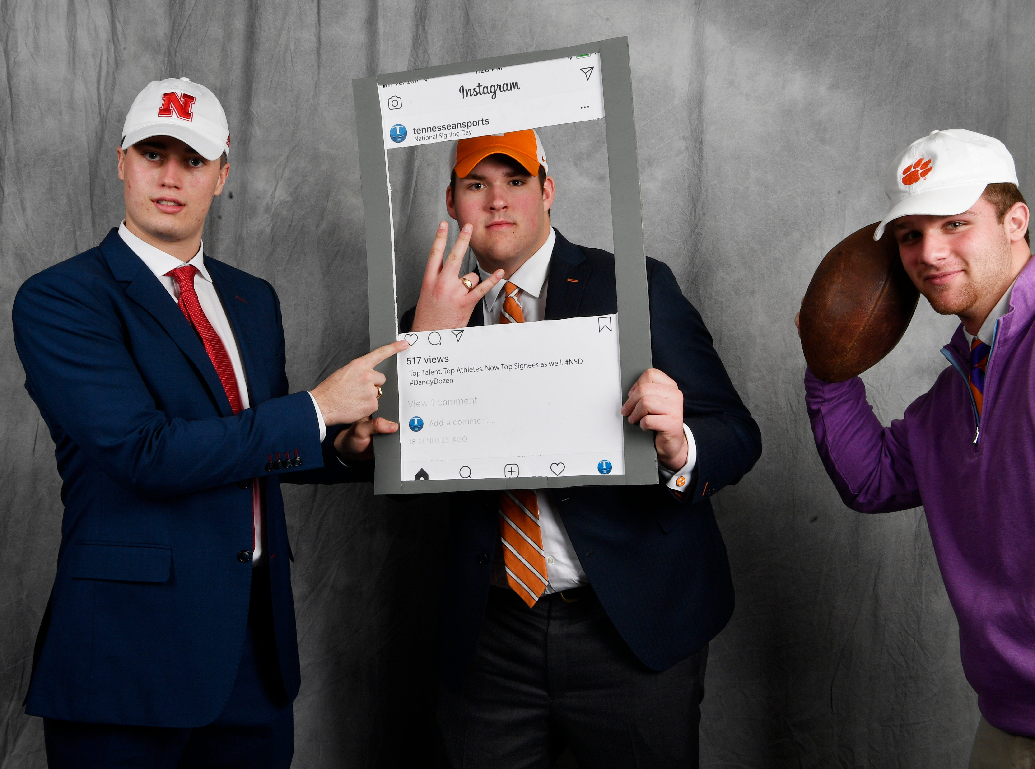 MBA's Jackson Hannah, left, poses with friends Jackson Lampley of MBA and Kane Patterson of CPA in the Tennessean's signing day booth. Hannah signed a letter of intent to play at Nebraska. Lampley signed with Tennessee and Patterson signed with Clemson.