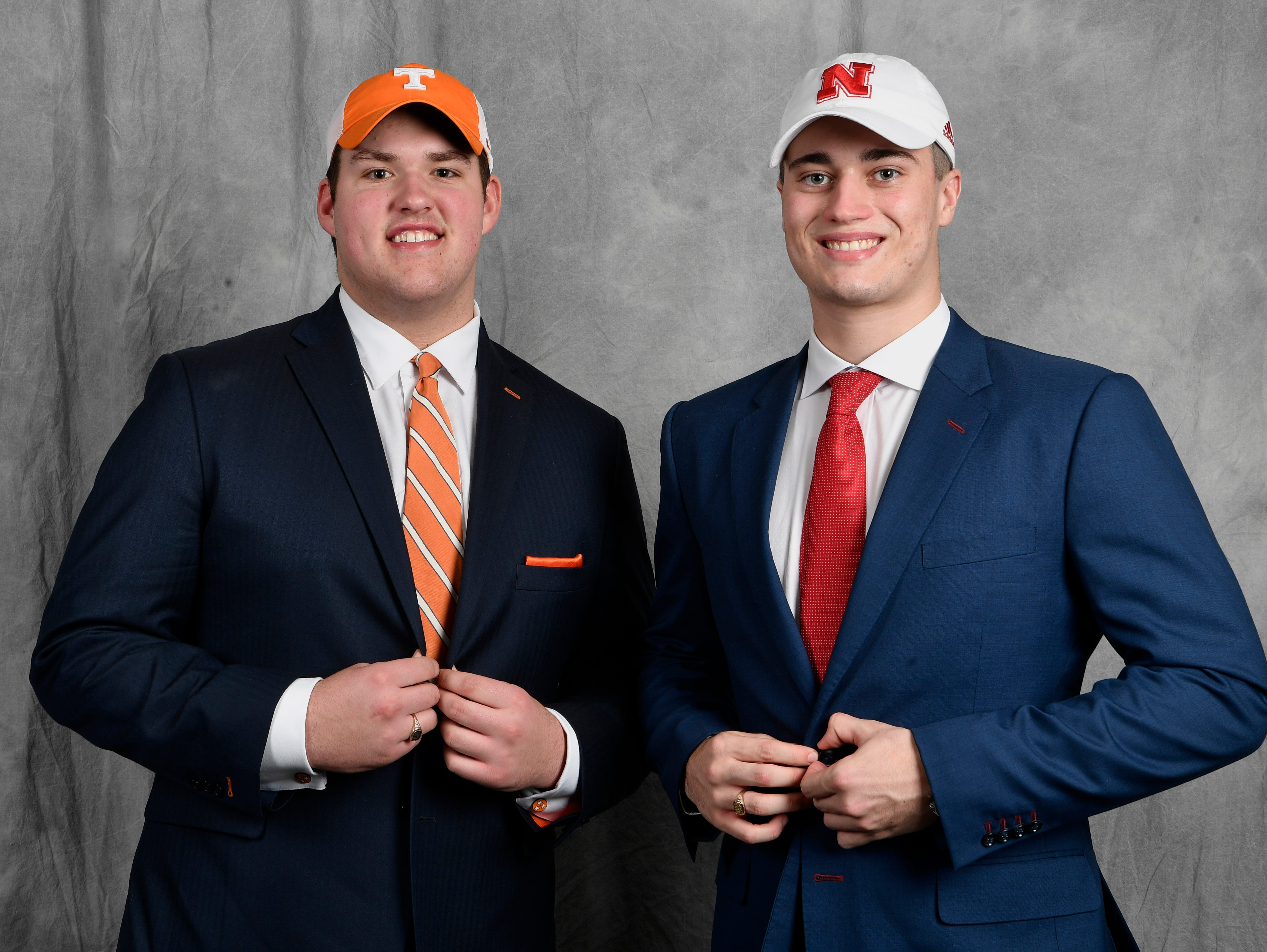 MBA teammates Jackson Lampley, left, and Jackson Hannah pose for a picture in the Tennessean's photo booth on the first day of the early signing period. Lampley signed with Tennessee while Hannah signed with Nebraska.