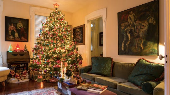 The eight-foot evergreen in Richter's living room and the room itself showcase many of the vintage ornaments and decorations he cherishes.