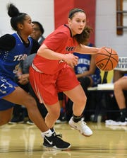 Teaneck girls basketball at Saddle River Day on Saturday, December 22, 2018. Michelle Sidor, of Saddle River Day,  drives to the basket.