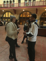 Tabitha Beck visits with Robert Ramirez and other friends who visited the landmarks from North Carolina