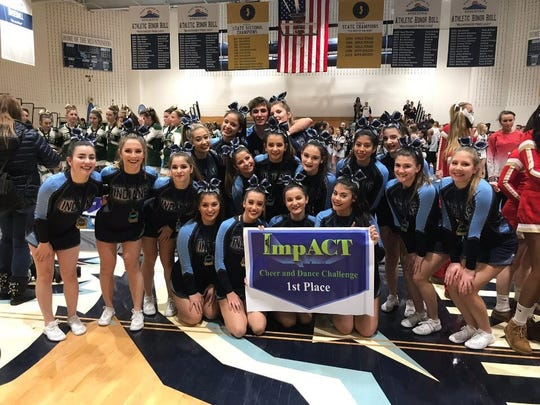 Wayne Valley cheerleaders won first place at the West Orange competition.