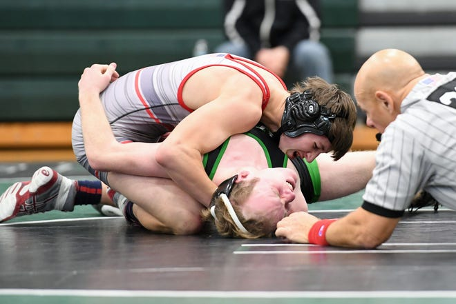 Emerson/Park Ridge wrestling at Pascack Valley on Saturday, December 22, 2018. E/PR Rob Anzilotti on his way to defeating PV Ryan Dunn in their 138 pound match.