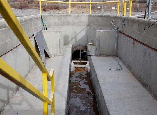 Treated effluent is released on Friday from the wastewater treatment plant managed by the Navajo Tribal Utility Authority.