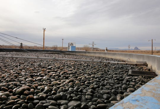 A trickling filter operates on Friday at the wastewater treatment plant operated by the Navajo Tribal Utility Authority in Shiprock.