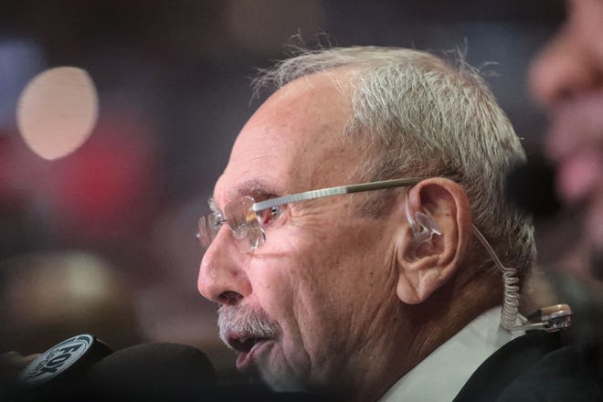 Clippers broadcaster Ralph Lawler works the Clippers Raptors game on Tuesday, December 11, 2018 at the Staples Center in Los Angeles. Lawler announced this is his last season after 40 years with the Clippers.