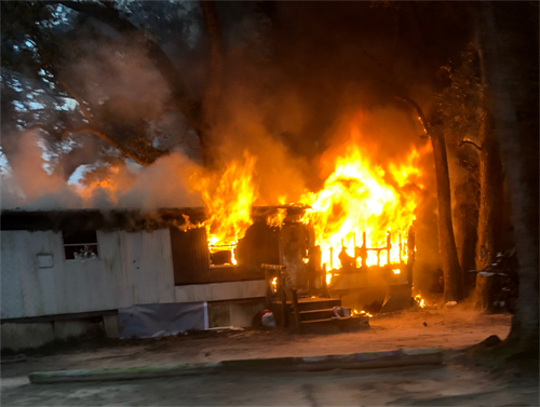 A fire damaged an Escambia County mobile home in the 5600 block of Turkey Road on Friday, Dec. 21, 2018.