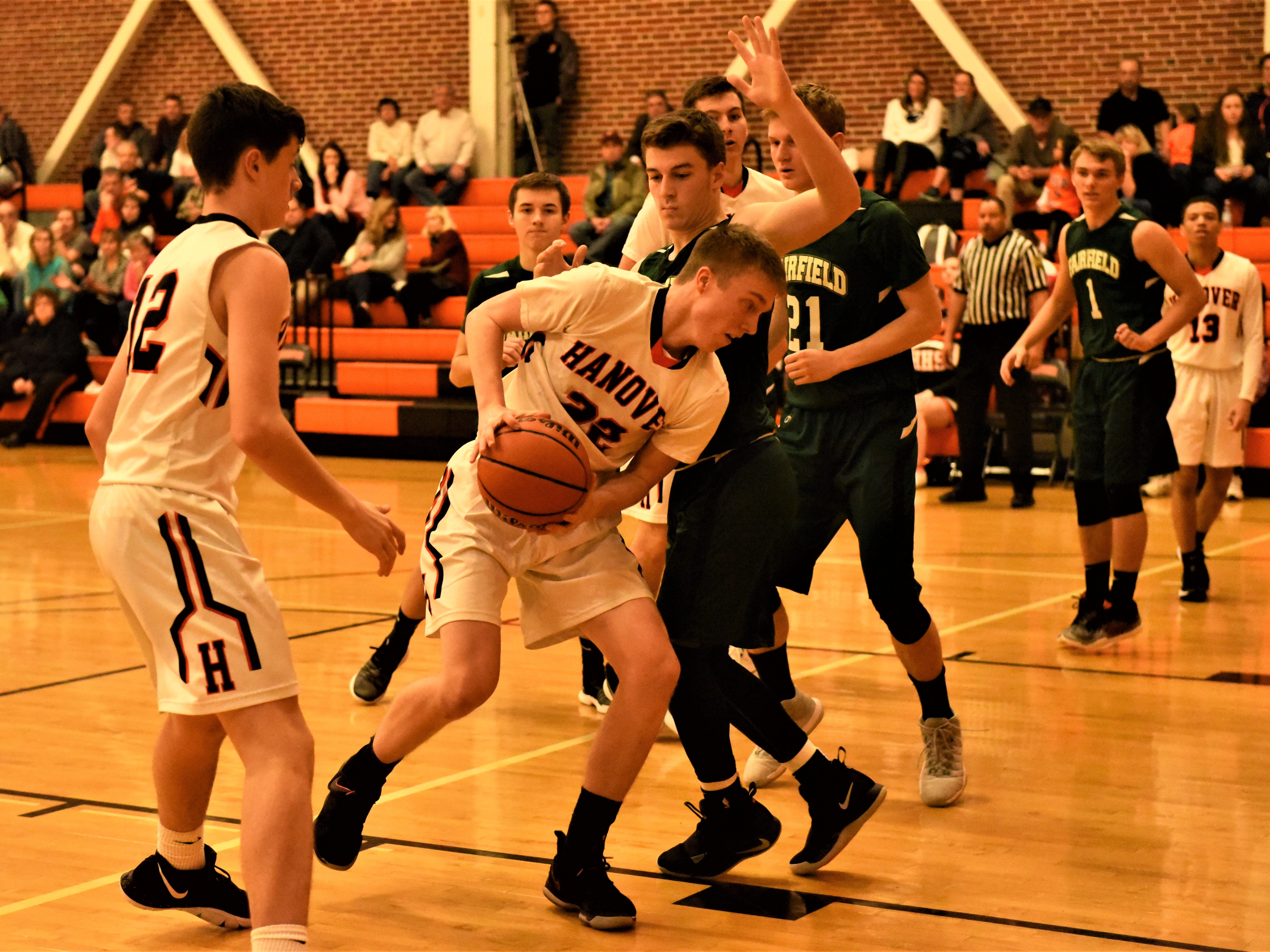 Michael Killinger drives into the paint. Fairfield High School lost at Hanover High School on Dec. 21, 57 to 43.