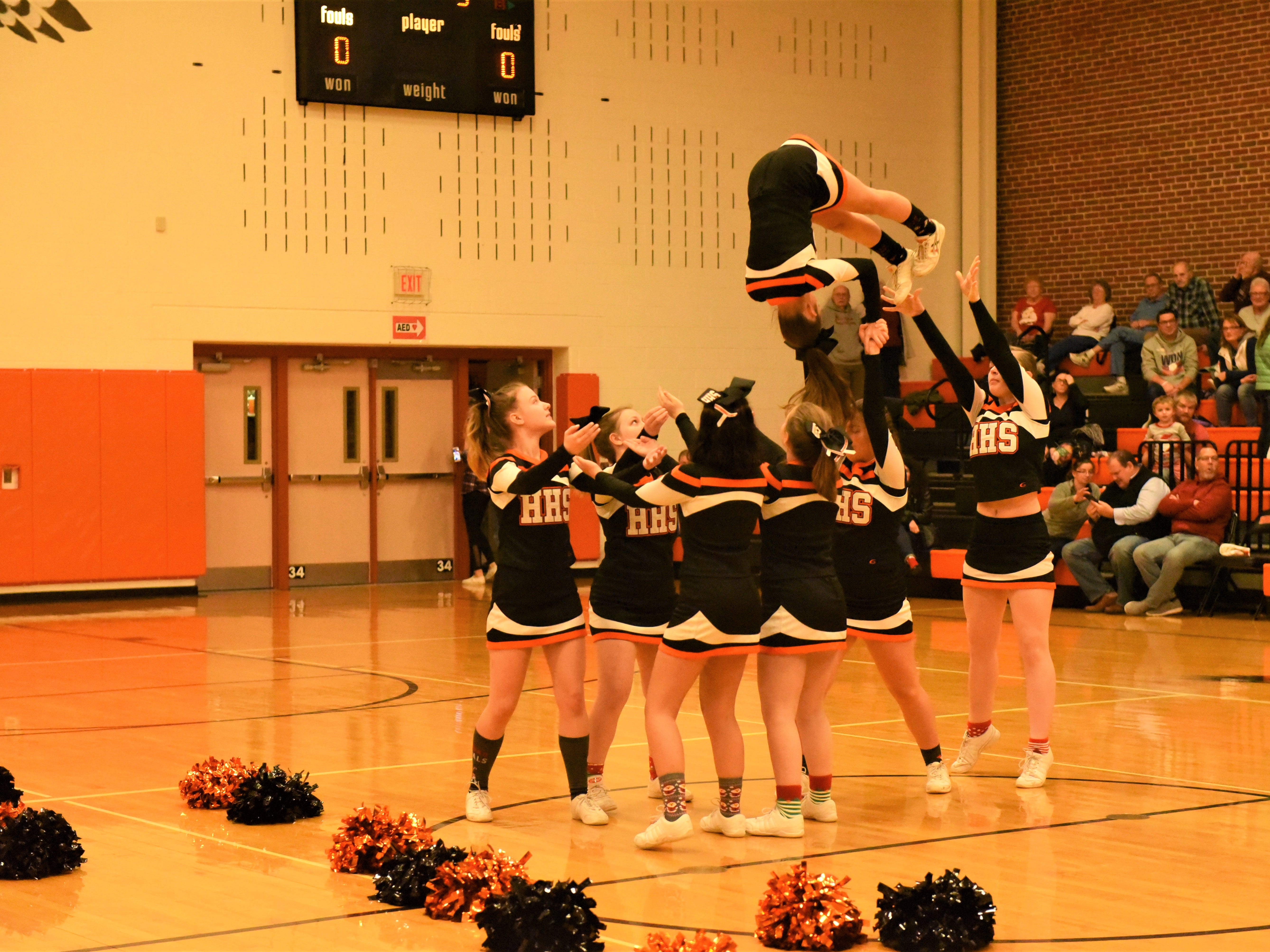 The Hanover cheerleaders half time show. Fairfield High School lost at Hanover High School on Dec. 21, 57 to 43.