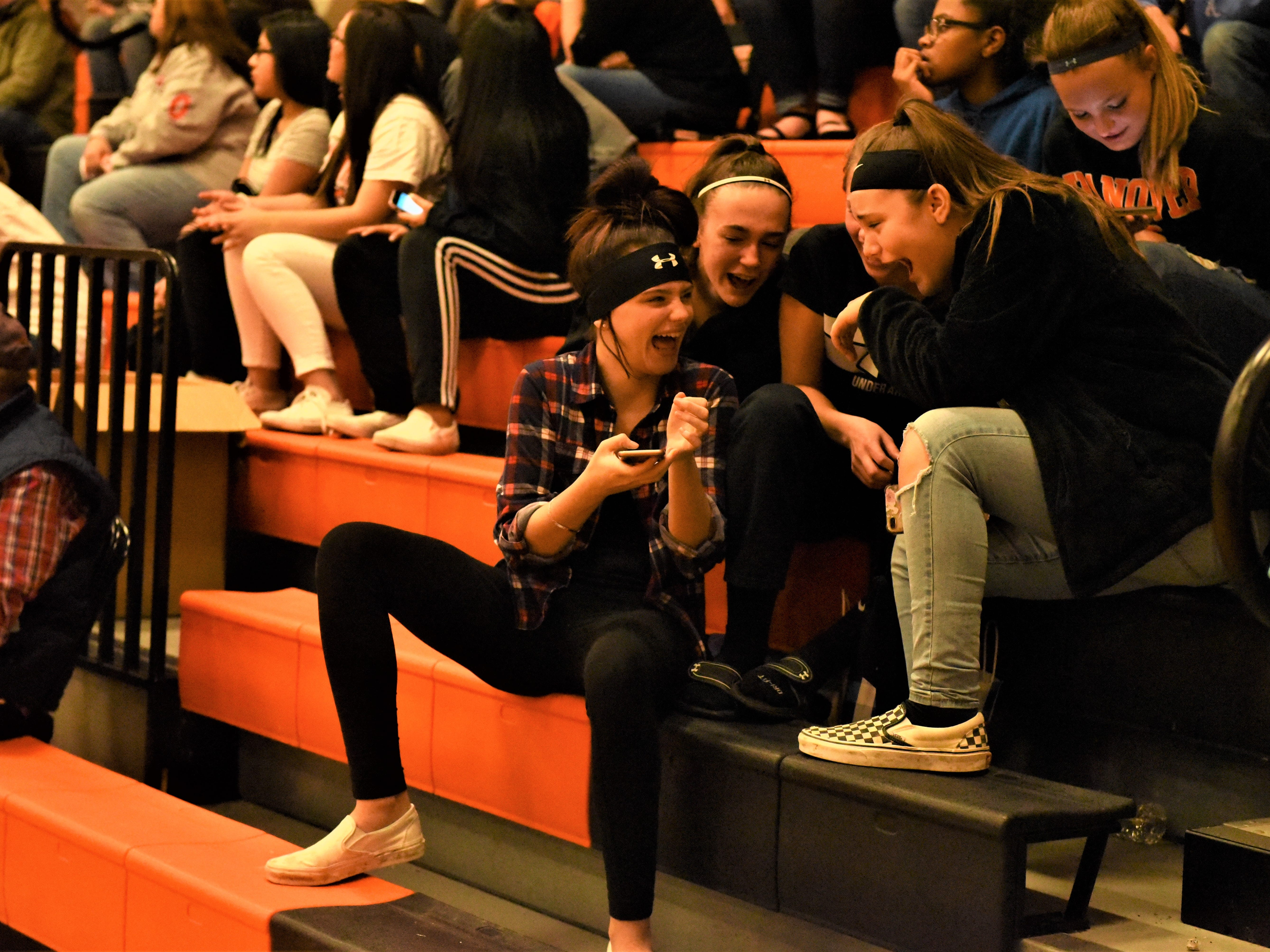 Girls sitting in the stands at the game. Fairfield High School lost at Hanover High School on Dec. 21, 57 to 43.