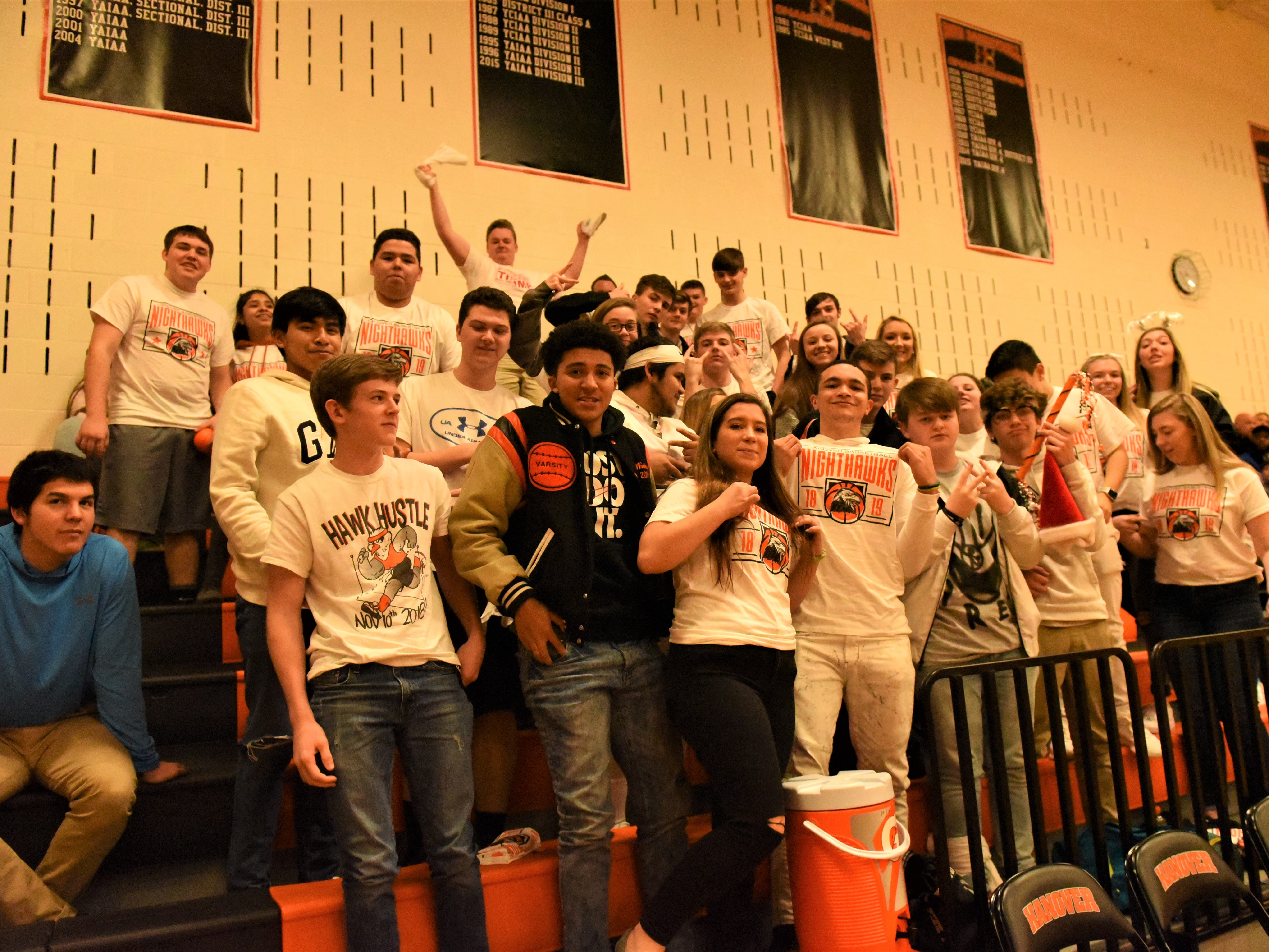 Hanover High School student section is in dressed for the white-out. Fairfield High School lost at Hanover High School on Dec. 21, 57 to 43.