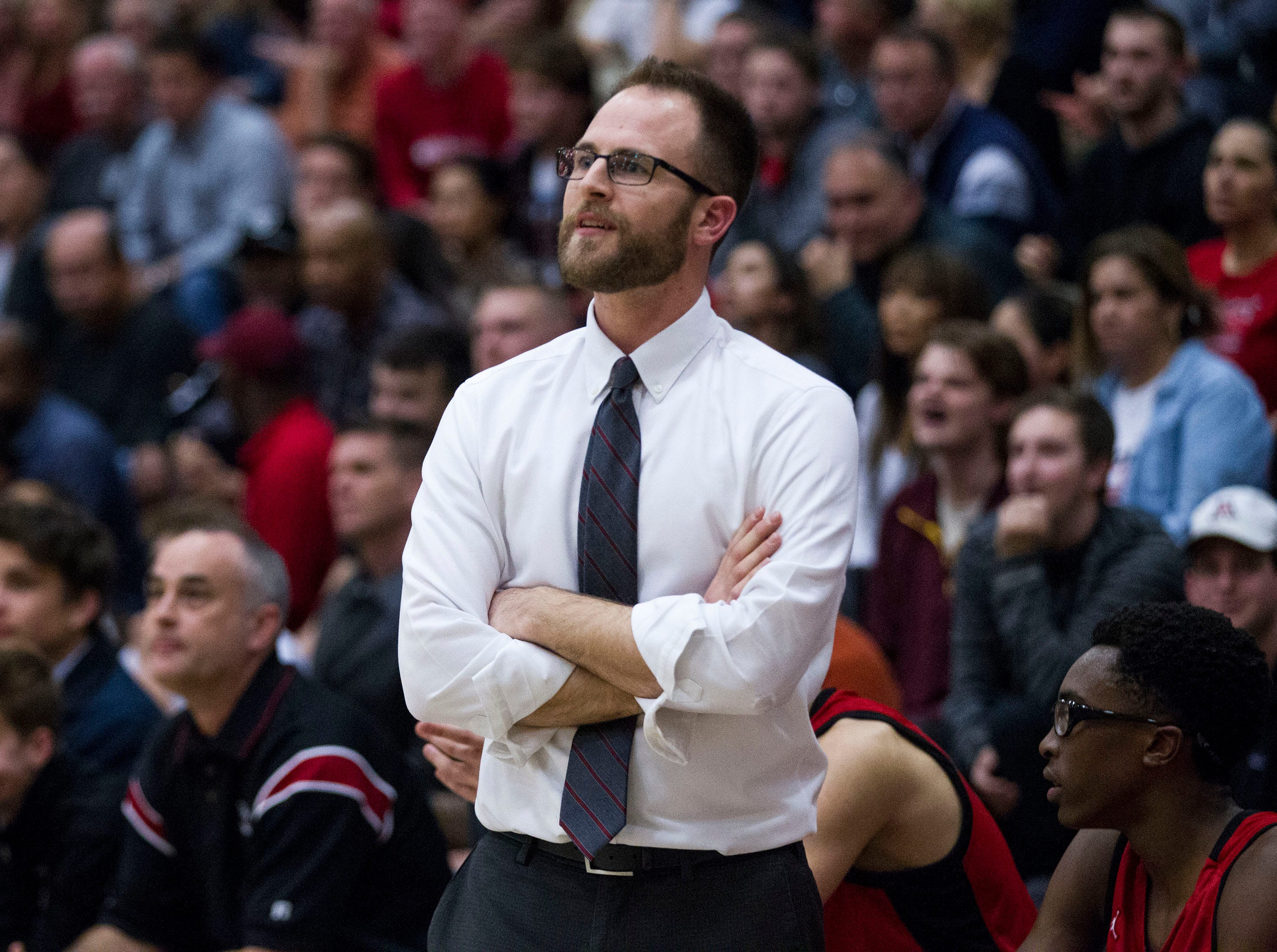 Brophy head coach Matt HootenÊwatches his team against Pinnacle  during their game in Phoenix, Friday, Dec. 21, 2018.