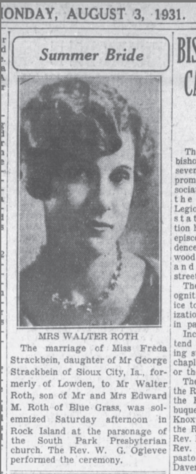 Freda Roth in The Daily Times, in Davenport, Iowa, in an announcement of her marriage to Walter Roth on Aug. 3, 1931.