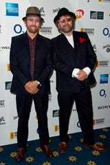 David Peacock (left) and Chas Hodges of Chas & Dave on July 4, 2014, in London.