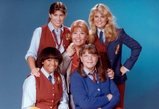 "In ""The Facts of Life,"" Mrs. Garrett (Charlotte Rae, center) kept watch over her young charges, played by Nancy McKeon (clockwise from top left), Lisa Whelchel, Mindy Cohn and Kim Fields."