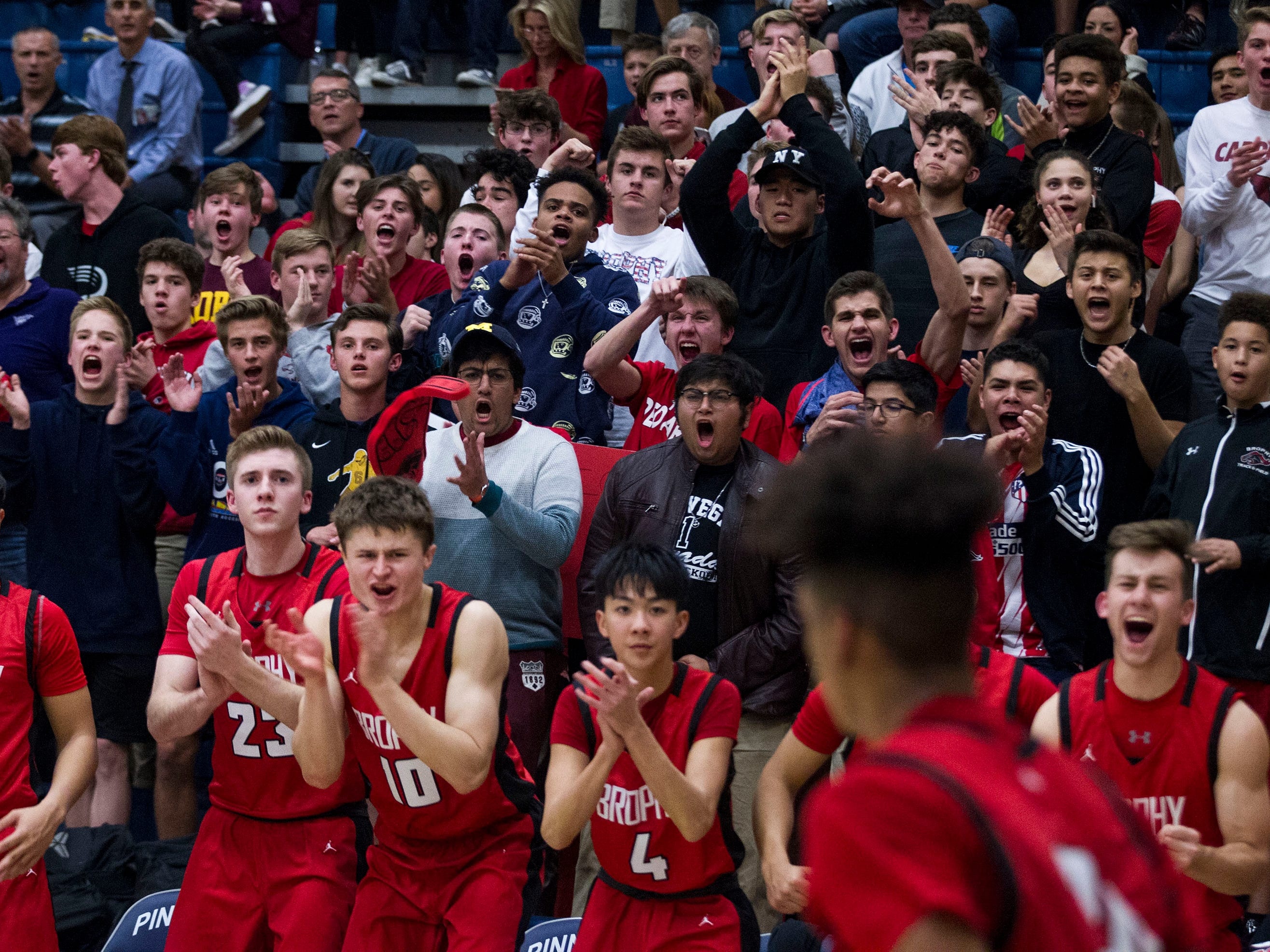 "Brophy's student body called the ""sixth man"" cheer on their team against Pinnacle during their game in Phoenix, Friday, Dec. 21, 2018."