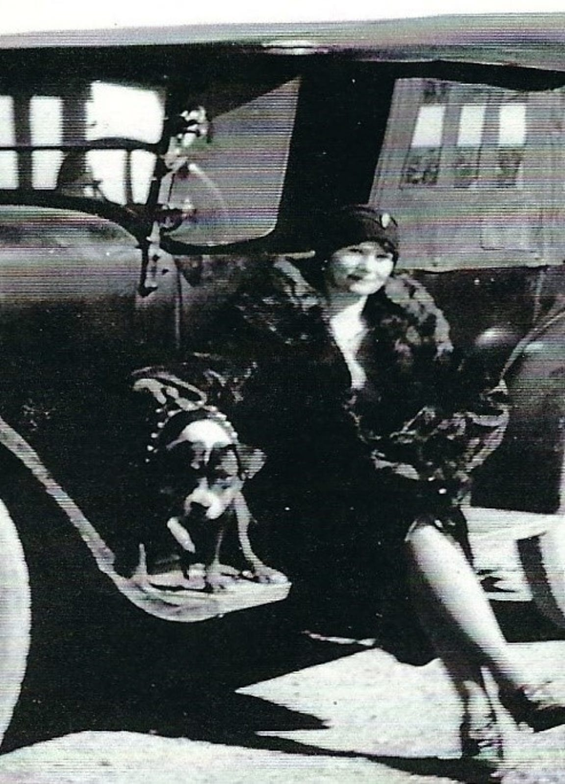Glenda Poling's paternal grandmother, Gertrude Maude Fulstone. Pictured in this undated photo with her guard dog Babe. She bears a striking resemblance to Sharon Elliott, the Hatbox Baby.
