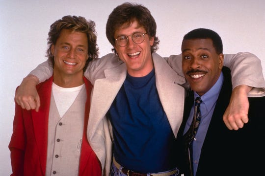 "Harry Anderson (center) played Dave Barry for four seasons on CBS's ""Dave's World,"" which co-starred Shadoe Stevens (left) and Meshach Taylor."