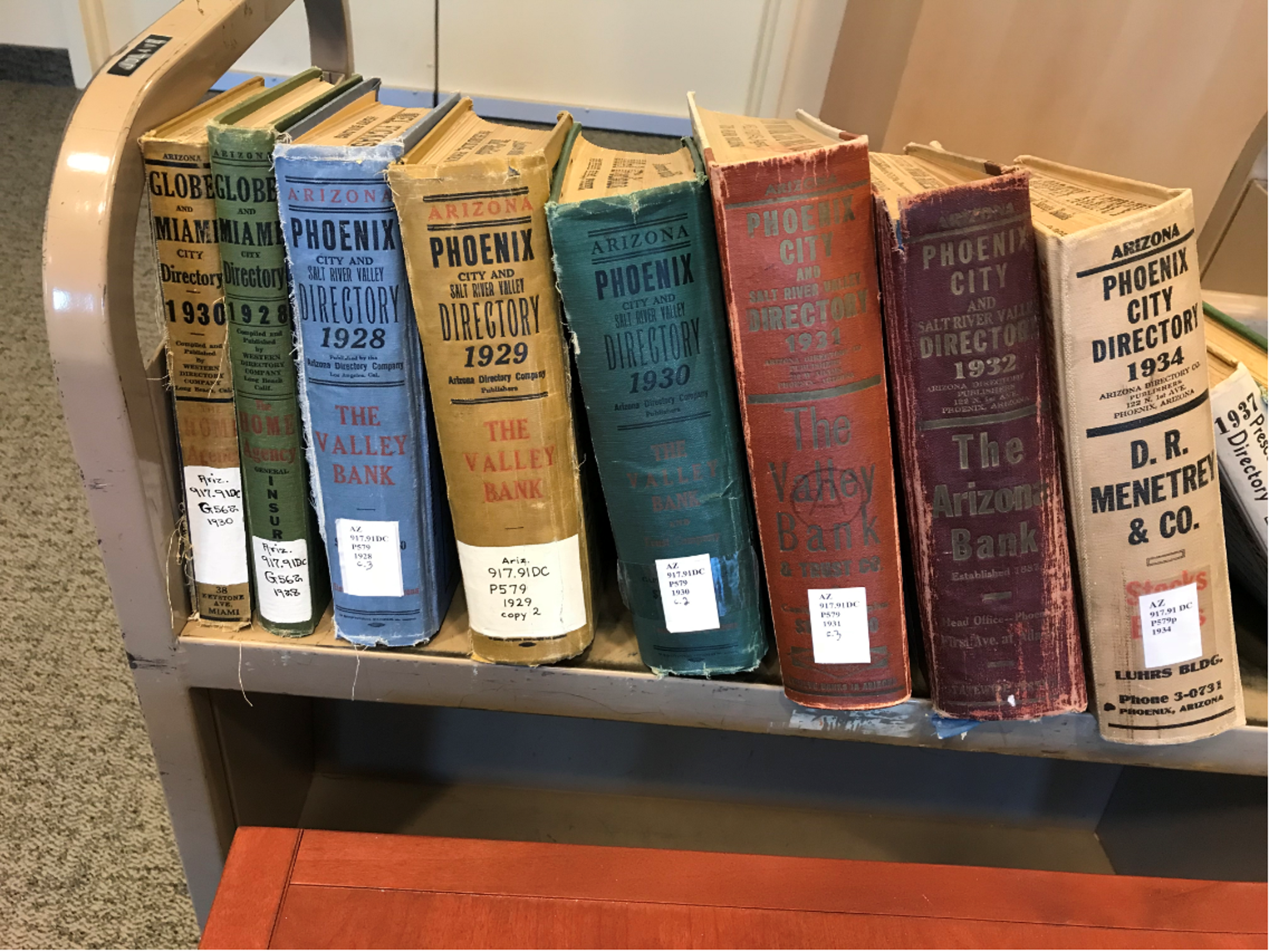 Reporter John D'Anna spent hundreds of hours in libraries and archives researching the Hatbox Baby case. These Phoenix and Prescott city directories are some of the resources he used at the Arizona State Library and Archives.