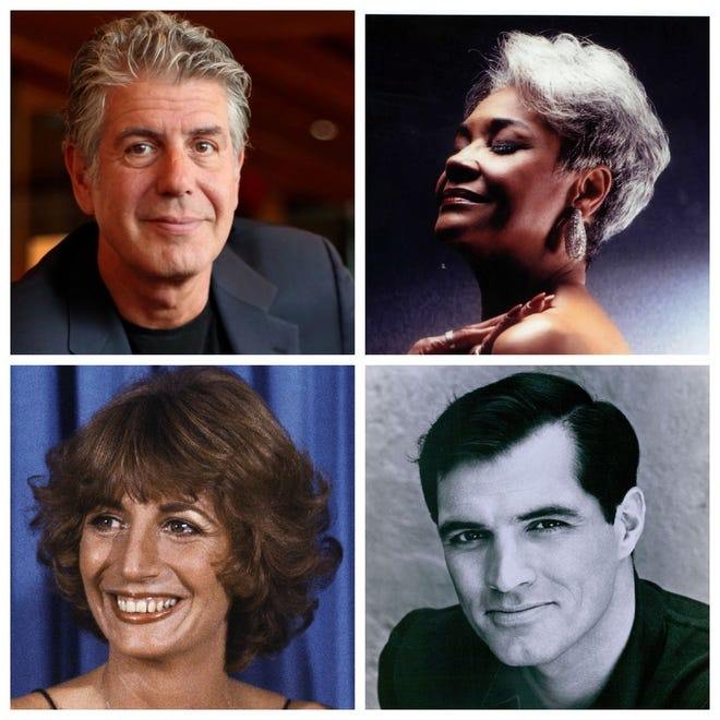 Anthony Bourdain (clockwise from top), Nancy Wilson, John Gavin and Penny Marshall were among the celebrities who died in 2018.