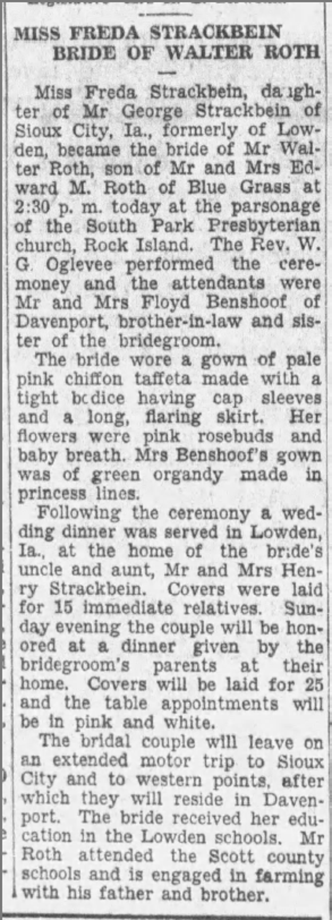 Walter and Freda's wedding announcement in The Daily Times, in Davenport, Iowa, as published on Aug. 1, 1931.