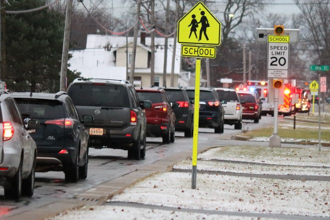 """The Port Clinton Police and Fire Departments organized an """"Operation Bright and Loud"""" procession to honor the memory of Linda Hartlaub."""