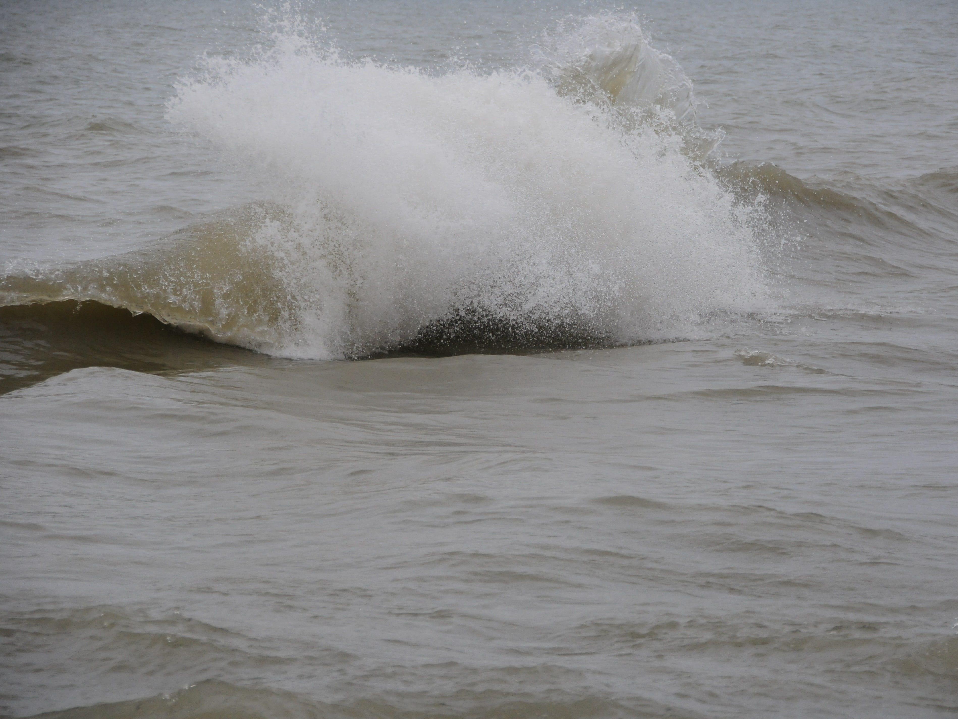Waves roll ashore in Lake Huron near Port Sanilac on Saturday, Dec. 22, 2018.