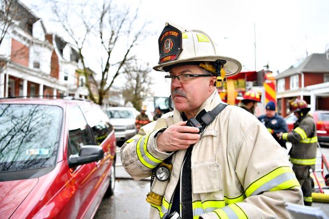 York City Fire Chief David Michaels on scene of a fire at 804 Pennsylvania Avenue in York City, Saturday, Dec. 22, 2018. Dawn J. Sagert photo