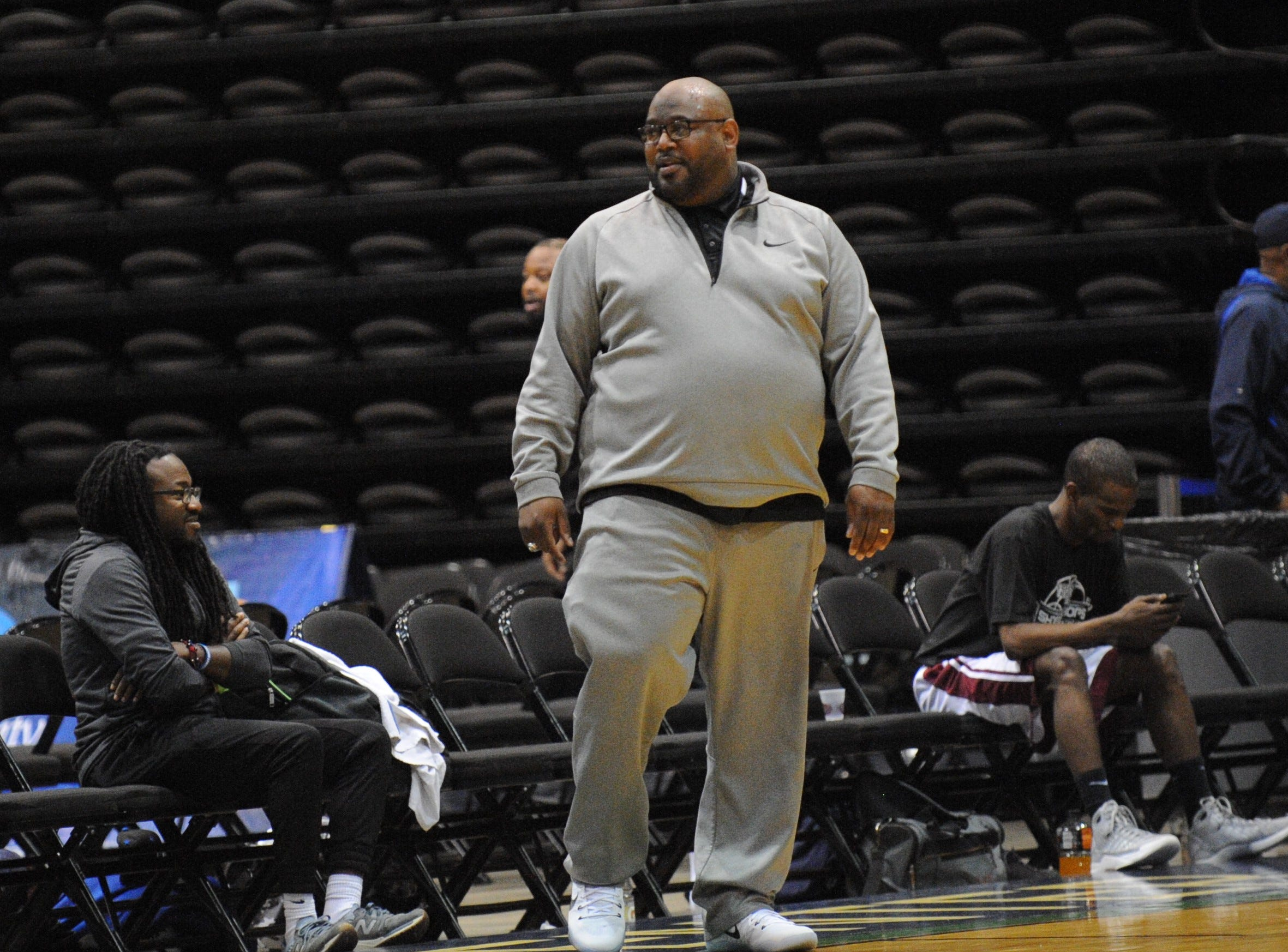 Nick Purnell coaches the 2001/2008 Snow Hill basketball team at the first ever Shore Hoops Alumni Classic on Saturday, Dec. 22, 2018
