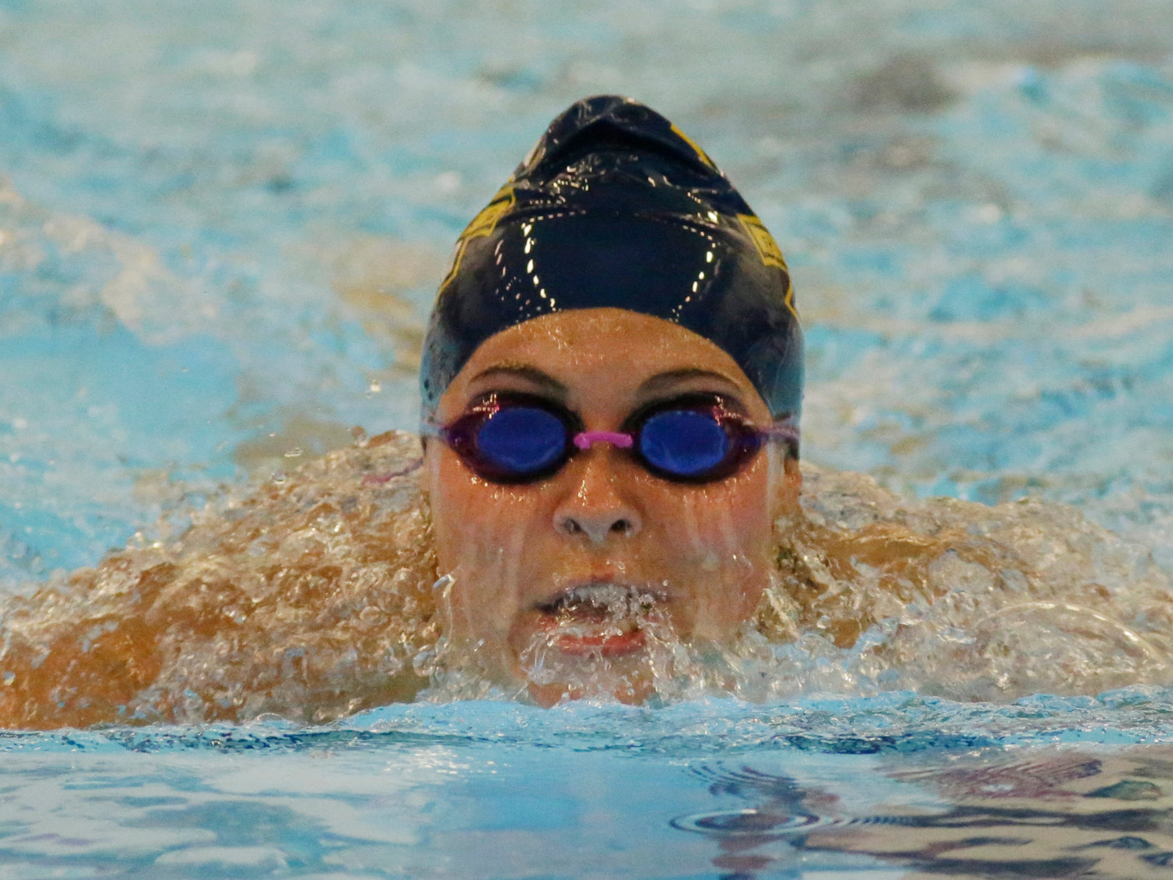 Sheboygan North's Erin Konter swims the 400 yard breaststroke butterfly relay at Sheboygan South, Tuesday, August 28, 2018, in Sheboygan, Wis.