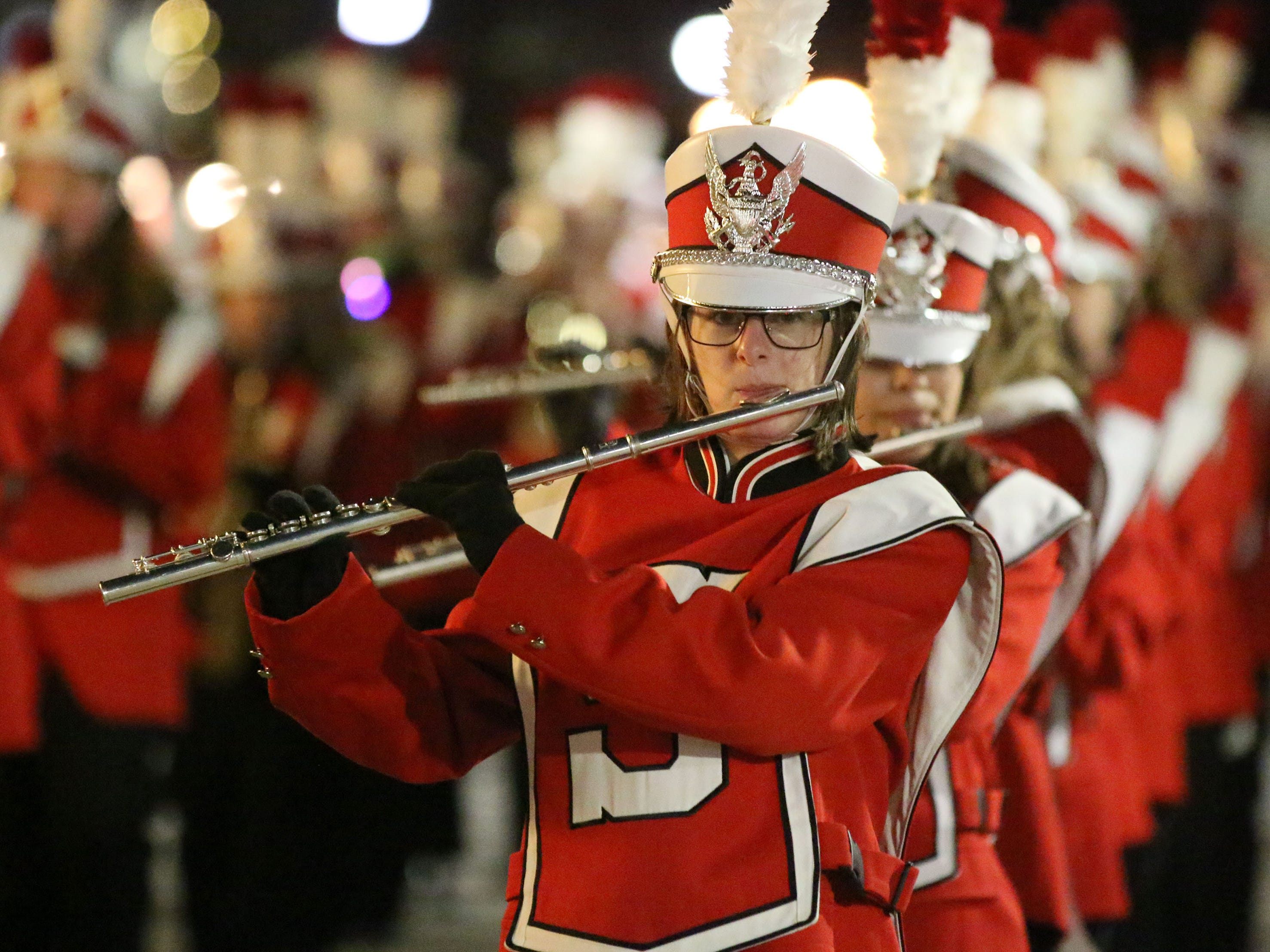 Sheboygan South's flute section performs during the 26th Annual Jaycees Holiday Parade, Sunday, November 25, 2018 in Sheboygan, Wis.