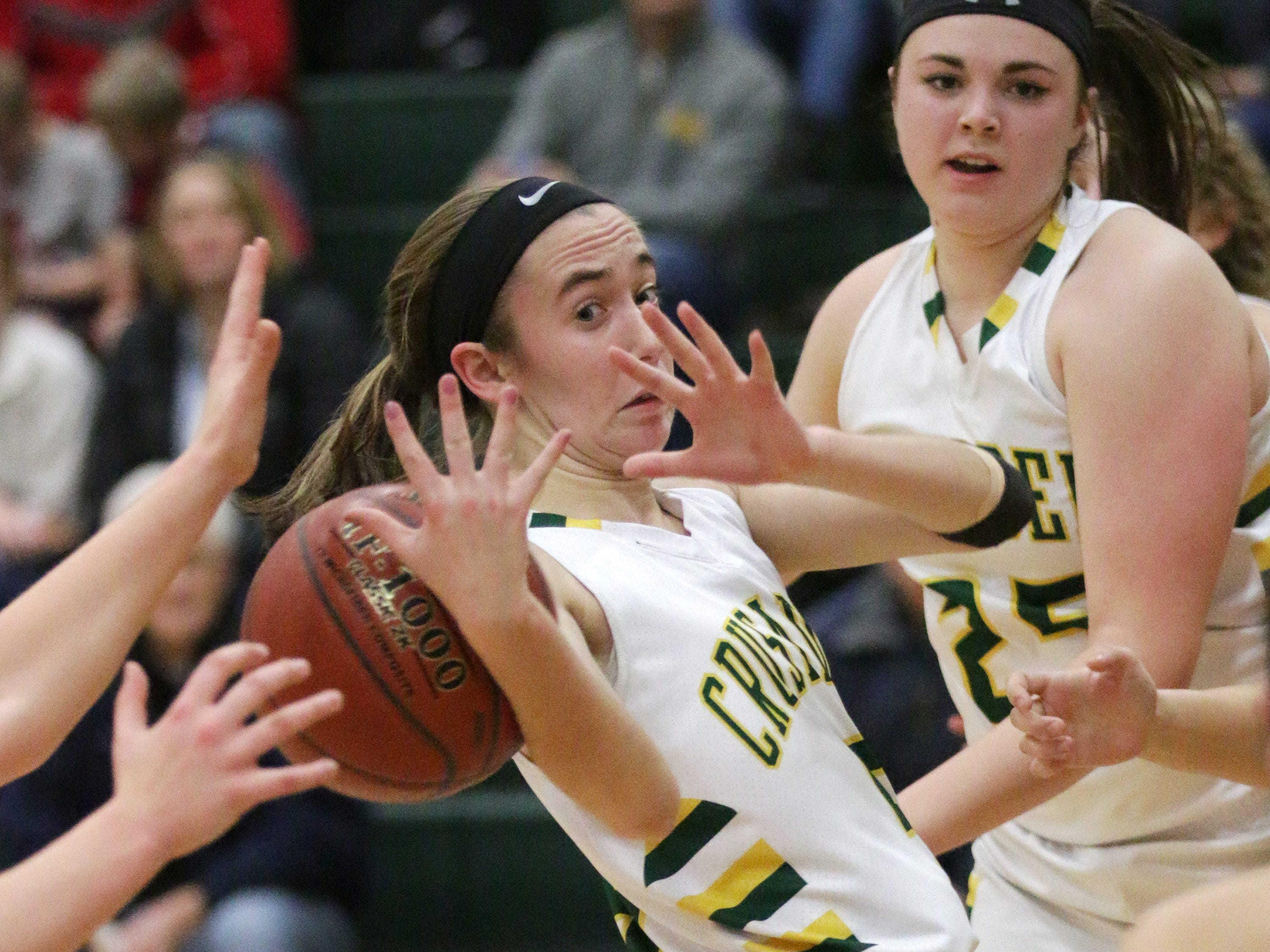 Sheboygan Lutheran's Katelyn Witte (5) looks as the ball slips from her hands against Manitowoc Lutheran, Tuesday, January 30, 2018 in Sheboygan, Wis.