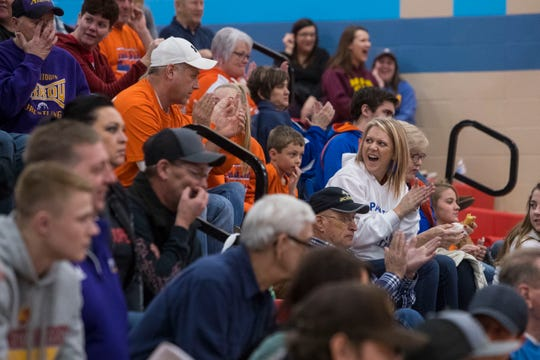 Audience members cheer during the Floyd Farrand Invitational, Saturday, Dec. 22, 2018 at Lincoln High School in Sioux Falls, S.D.