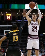 The MSU Bears' Jared Ridder shoots against the University of Arkansas at Pine Bluff at JQH Arena in Springfield on Dec. 22, 2018.
