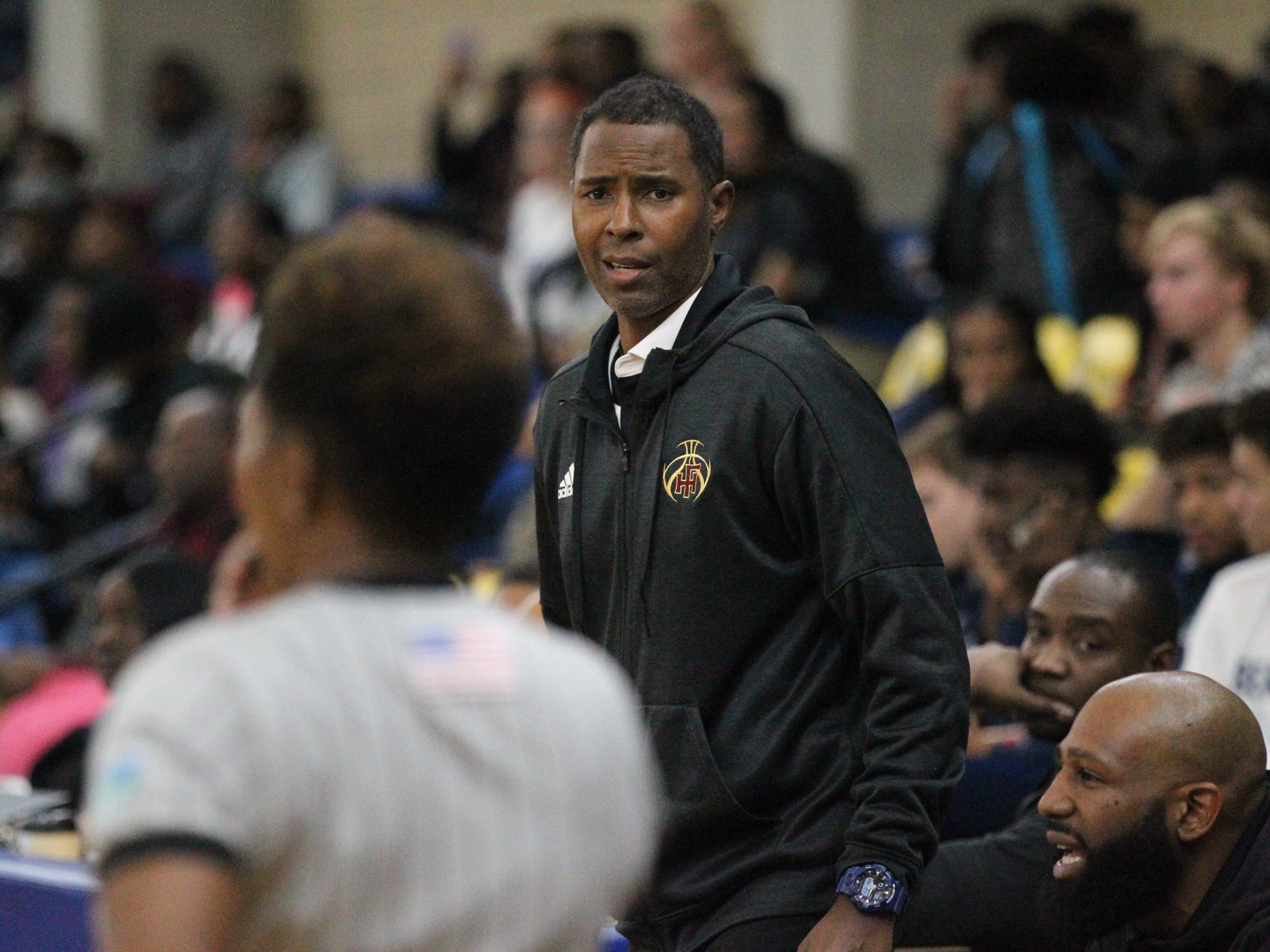 Florida High boys basketball coach Charlie Ward talks to a referee during the 2018 Capital City Holiday Classic at TCC.