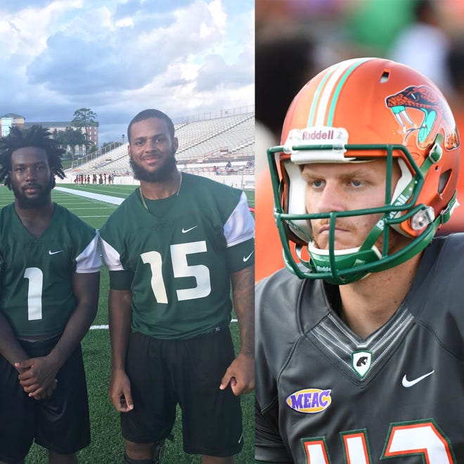 FAMU defensive back Terry Jefferson (1), linebacker Elijah Richardson and punter Chris Faddoul earned a 4.0 for the fall semester. They led the charge for 15 Rattlers being named to the MEAC All-Academic list.