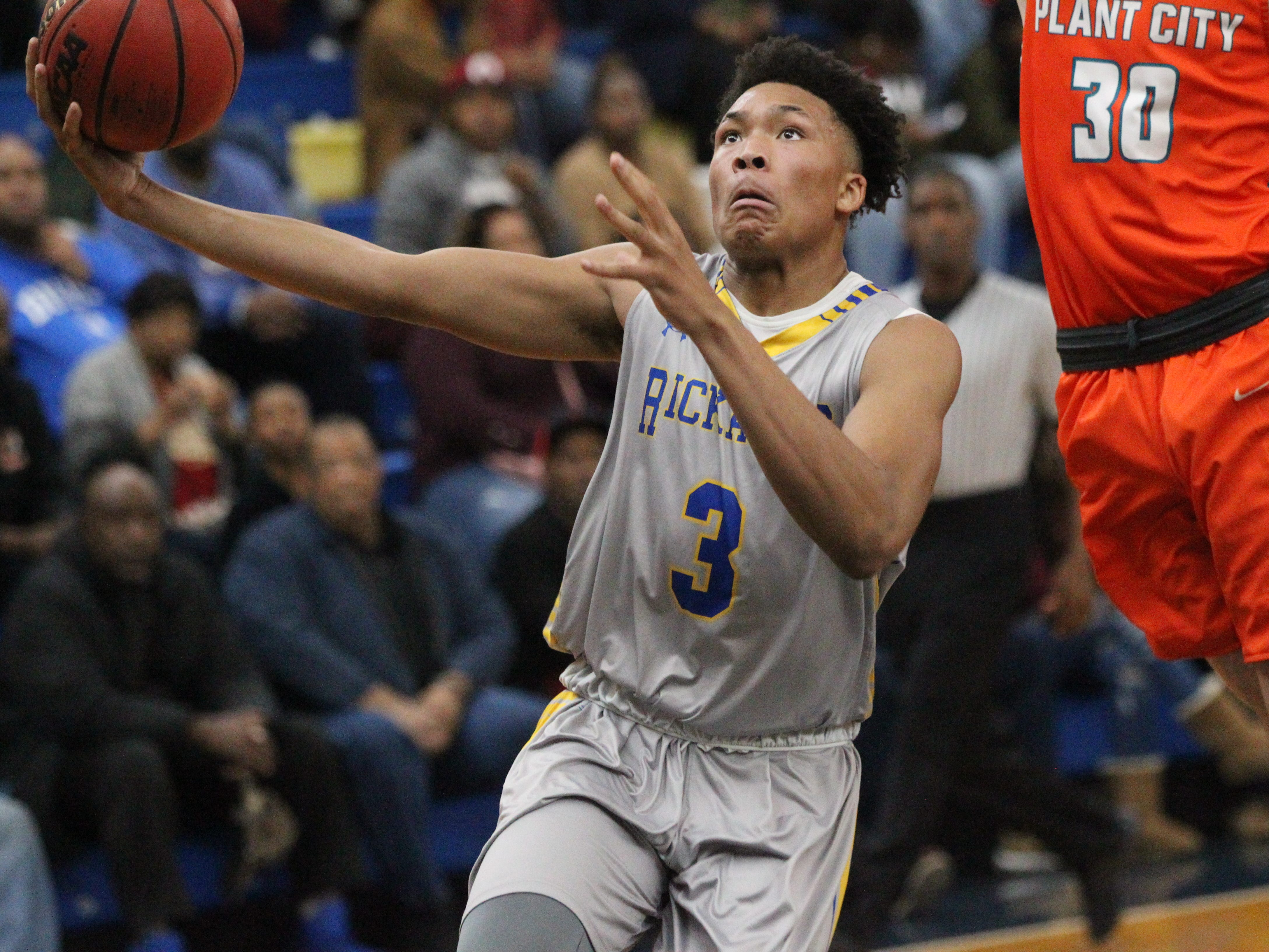 Rickards sophomore Roddrick Henry drives to the basket for a layup during the 2018 Capital City Holiday Classic at TCC.
