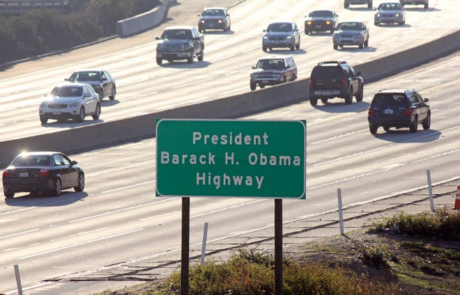 Signs have gone up naming a section of a Los Angeles-area freeway as the President Barack H. Obama Highway, seen from Pasadena on Thursday. The signs posted Thursday on Highway 134 apply to a stretch running from Highway 2 in Glendale through Eagle Rock to Interstate 210 in Pasadena. The former president attended Occidental College in Eagle Rock from 1979 to 1981 and lived in Pasadena.