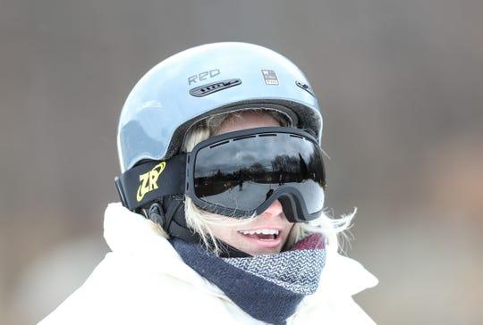 Tatiana Ronda, 22, from New York, takes a break at Campgaw Mountain Ski Area in Mahwah on Saturday, December 22, 2018.