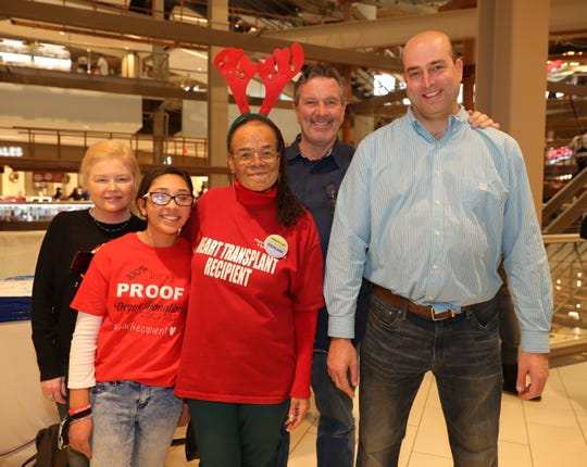 From left, Tara McKeegan, a lung recipient; Bella Munoz, 13, and Roxanne Watson, both heart recipients; Mike Prendergast, a liver recipient; and Evan Kushner, a kidney recipient, at the Palisades Center in West Nyack while educating people about organ donations.
