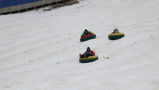 Tubers make a run at Campgaw Mountain Ski Area in Mahwah on Saturday, December 22, 2018.