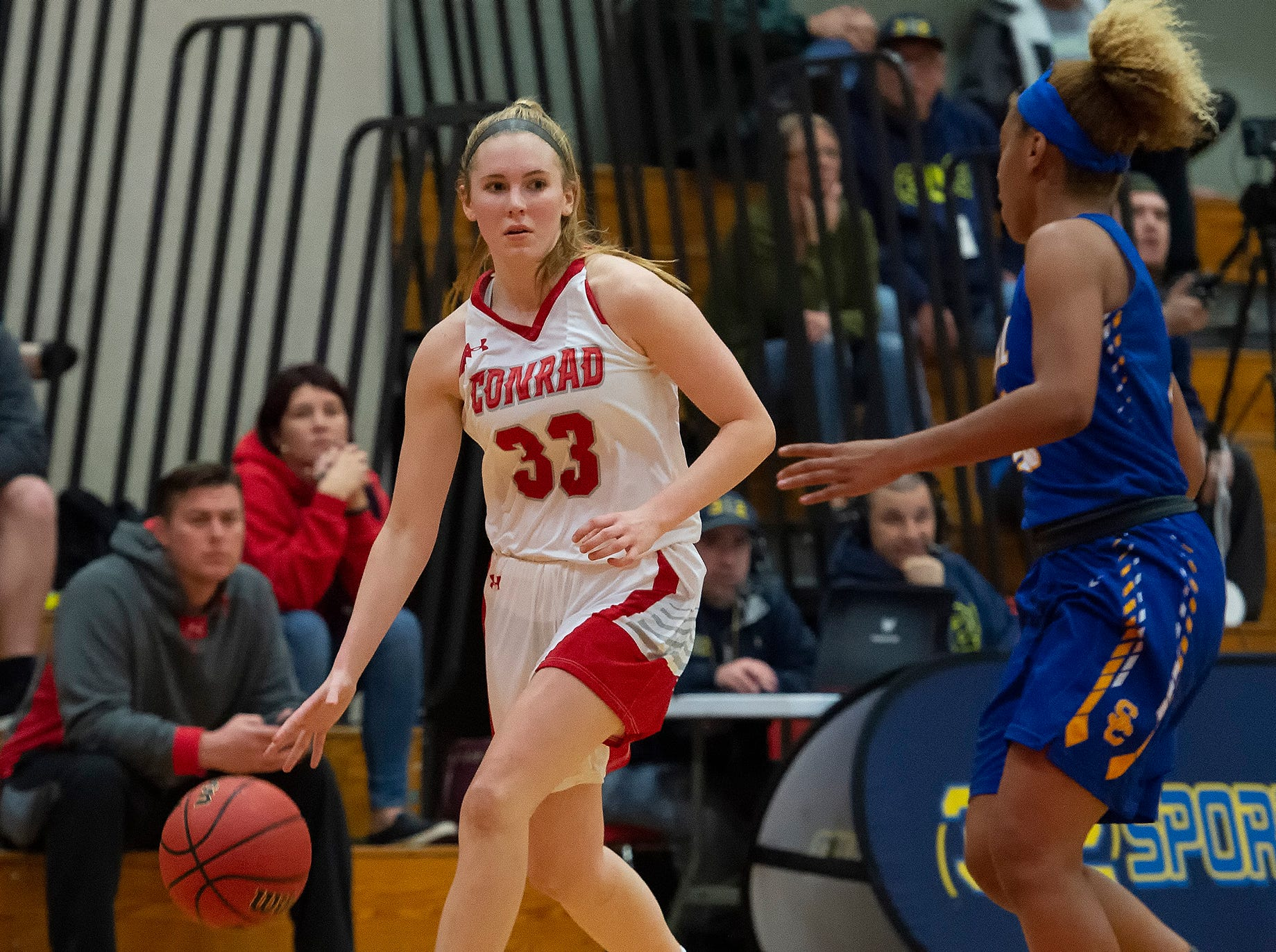 Conrad's Julie Kulesza (33) in their 64-33 win against Sussex Central.