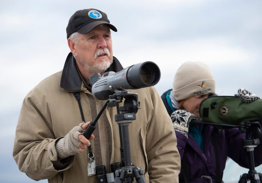 Jim White, left, and Sally O'Byrne with the Delmarva Ornithological Society help with their annual Christmas Bird Count at the City of Wilmington's wastewater treatment facility.