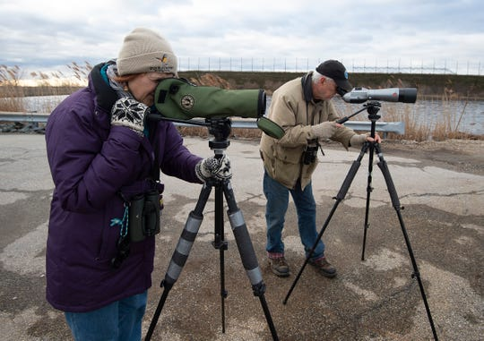Sally O'Byrne, left, and Jim White with the Delmarva Ornithological Society help with their annual Christmas Bird Count at the City of Wilmington's wastewater treatment facility.
